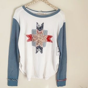 NWT Free People Lone Star Embroidered Thermal M